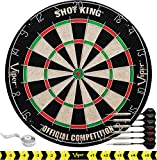Viper by GLD Products Shot King Regulation Bristle Steel Tip Dartboard Set with Staple-Free Bullseye, Galvanized Metal Radial Spider Wire; High-Grade Compressed Sisal Board with Rotating Number Ring, Includes 6 Darts,...