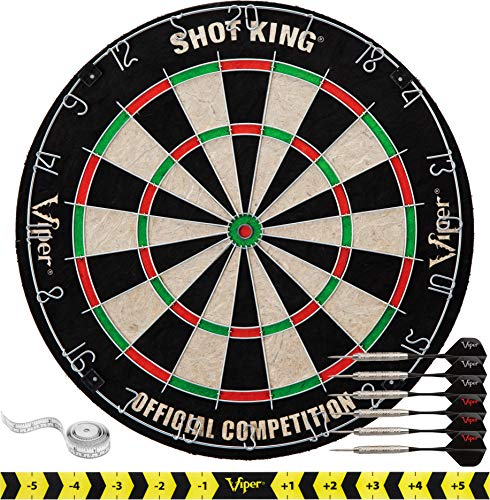 Viper by GLD Products Shot King Regulation Bristle Steel Tip Dartboard Set with Staple-Free Bullseye, Galvanized Metal Radial Spider Wire; High-Grade Compressed Sisal Board with Rotating Number Ring, Includes 6 Darts, Black, 17.75 inch