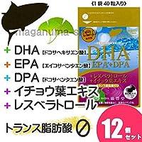 DHA+EPA+DPA+レスベラトロール+イチョウ葉エキス 12個セット