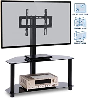 """Rfiver Corner Floor TV Stand with Swivel Mount for Most 32""""-55"""" LED, LCD, OLED and Plasma Flat or Curved Screen TVs, Height Adjustable 3-in-1 Entertainment Stand in Black, TW2001"""