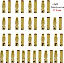 Yiqigou 20 Pairs Gold Plated 3mm 3.0mm Male Female Banana Plug Bullet Connector for ESC Lipo Battery