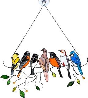 Dacitiery Oiseaux sur Un Fil, Ornements de Série d'oiseaux, Oiseaux Decoratifs Mural Doré, Sculptures et Statues de Jardi...
