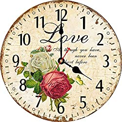 WISKALON 8 Inch Retro Wall Clock,Arabic Numerals Home Art Decor Clock,Silent Non-Ticking Battery Operated Indoor Wall Clock,Wood Round Easy to Read Wall Clock(Love Rose Pattern)