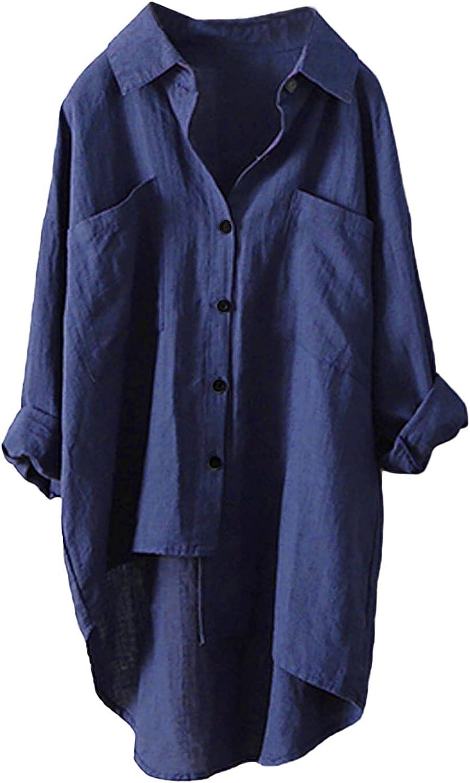 WYBAXZ Women Cotton Linen Casual Loose Button-Down Shirt Solid Long Sleeve Basic Blouse Henley Top Work Blouse Tops