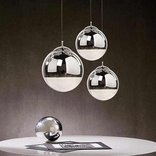 Europe du Nord Mirror Creative Moderne Simple Bar Couleur verre repas Chrome Space Ball galvanoplascravate Led sphérique Lustre, lumière blanche, Diamètre 25cm