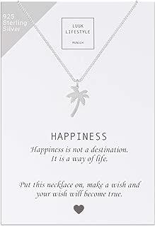 Collar de plata de ley 925 con colgante de ancla, palma, estrella, mandala, flor de loto, cruzado, clave de sol, pluma y cita Happiness, joya de mujer, tarjeta de regalo, amuleto, oro, plata, rosé
