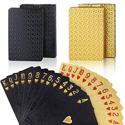 Auihiay 2 Barajas de Cartas de póquer a Prueba de Agua, Naipes de Diamantes, Herramienta Profesional de Trucos de Magia clásica para Jugadores de Cartas, Juego de Fiesta Familiar (Oro + Negro)