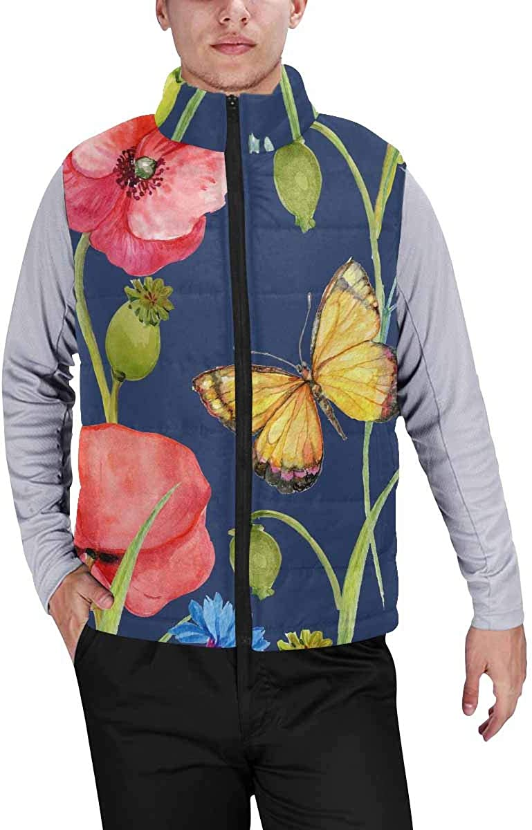 InterestPrint Men's Full-Zip Padded Vest Jacket for Outdoor Activities Flowers Embroidery with Camouflage Pattern