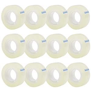 12 Rolls Transparent Tape Refills, Clear Tape, All-Purpose Transparent Glossy Tape for Office, Home, School