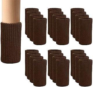 [24枚入り] 椅子脚カバー 椅子あしカバー チェアソックス イス足カバー 高弾性 騒音と傷防止 取り付け簡単 - ダイニング チェア 脚 カバ (24, ブラウン)
