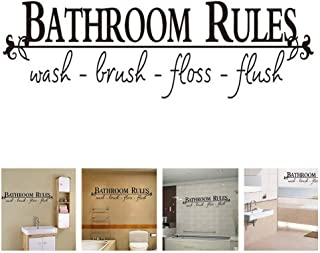 Amaonm 5x23inch Removable DIY Black Vinyl Quotes Wall Stickers Lettering Art Bathroom Rules Wash Brush Floss Flush Wall Decals Education Murals Decor for Home Wall Kids Bathroom Toilet Nursery School
