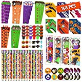 168 Pcs Halloween Party Favor Gift for Kids, 24 Pack Halloween Stationery Set with Goody Treat Bags, Halloween Bulk Toy for Class, Halloween Themed in Trick or Treat Bags, Halloween Party Game Prizes