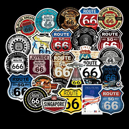 BAIMENG Etiqueta engomada de la Historieta de la Ruta 66 para el Ordenador portátil, monopatín, Equipaje, Casco, Pegatinas de Juguete, 50 Piezas