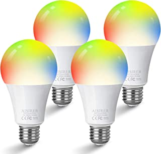 AISIRER Smart Bulbs,60 Watt Equivalent E26 Color Changing Light Bulbs A19 Smart LED Bulbs with Free App Work with Amazon Alexa,Google Home and Siri,No Hub Required,2.4GHz WiFi (Not 5GHz),Pack of 4