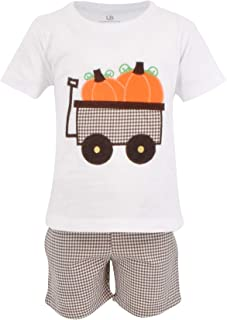 Boys Pumpkin Patch Wagon Halloween Thanksgiving Outfit Shirt