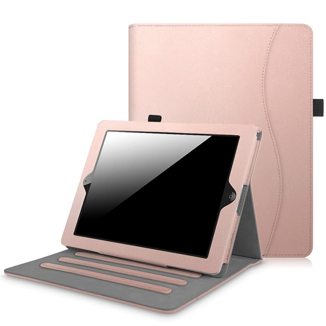Fintie iPad 2/3/4 Case [Corner Protection] - [Multi-Angle Viewing] Folio Smart Stand Cover with Pocket, Auto Sleep/Wake for Apple iPad 2, iPad 3 & iPad 4th Gen with Retina Display, Rose Gold