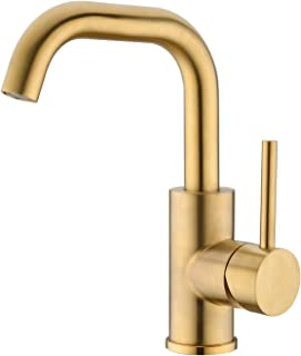 Brushed Gold Single handle Bar Sink Faucet,Heouty Stainless Steel Single hole 360 Rotate Spout Small Kitchen Sink Faucets, Brushed Brass Bathroom Faucet