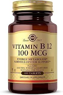 Solgar Vitamin B12 100 mcg, 100 Tablets - Energy Metabolism, Heart Health, Healthy Nervous System - Non-GMO, Vegan, Gluten...