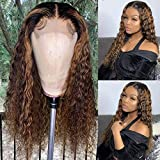 High Density Curly Blonde Highlight Human Hair Wig for Women Natural Long 13x4 Lace front Wig Ombre Color Human Hair Wig with Baby Hair 180% Desity 16 Inch by Brennas Hair