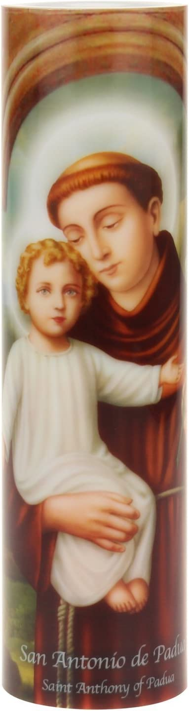 The Saints Collection St. Anthony Flickering LED Prayer Candle, Prayer in English and Spanish, Unique Religious Decoration for Prayer Alter, Mantle, or Any Room in the Home