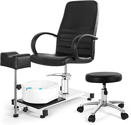 2021 Artist hand Pedicure Unit with Foot Massage Basin, 360 Swivel Hydraulic online Pedicure Spa Chair with Adjustable Rolling Stool and Foot Support, Pedicure Station for Beauty, Salon, 2021 Home, Black outlet sale
