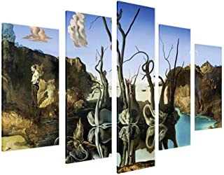 Alonline Art - Swans Reflecting Elephants by Salvador Dali | print on 100% cotton canvas | Ready to frame (Rolled) | 36