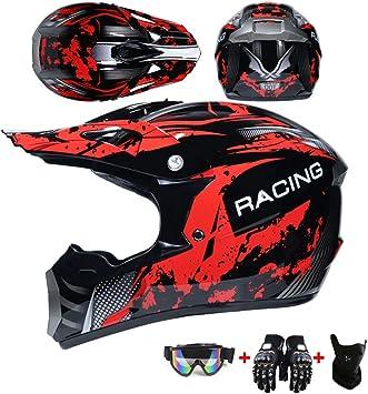 Guantes De Motocicleta Gafas Apto para Adultos y ni/ños WRISCG Casco Motocross Casco para ni/ños Mascarilla 4pcs Juego De Casco De Moto para Hombre Mujer