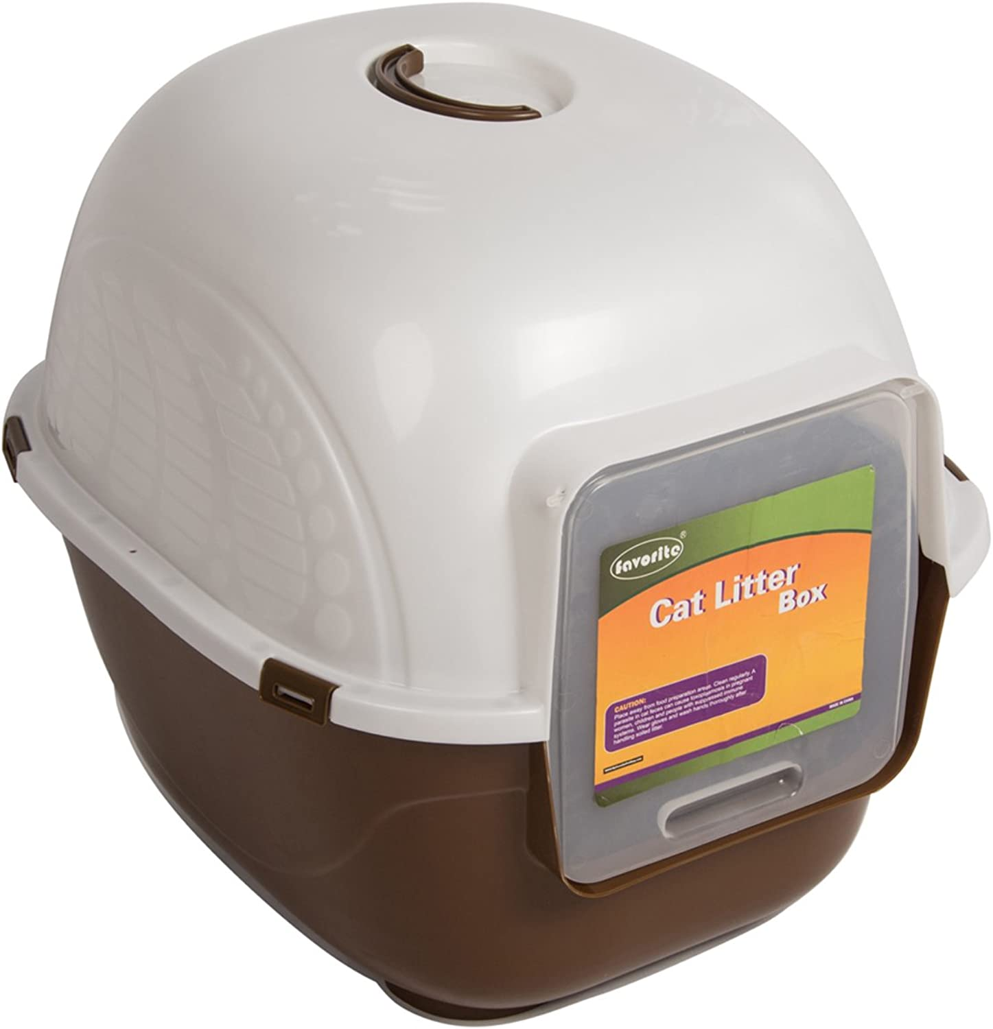 Favorite Portable Side Enter Covered Cat Litter Box, Brown, XL