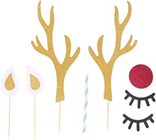 TOYMYTOY Deer Cake Topper Antlers Eyelash Mouth DIY Cake Decor Reindeer Themed Birthday Party Decorations Christmas Holida...
