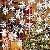 Winter Christmas Hanging Snowflake Decorations - 12PCS Snowflakes Garland & 12PCS 3D...