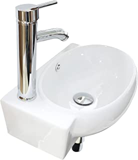 Sliverylake Bathroom Corner Sink Wall Mounted Sink White Porcelain Ceramic Vessel Sink and Faucet Combo