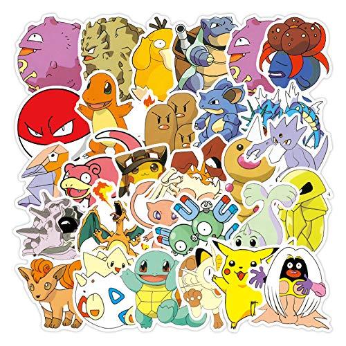 ZNMSB 100 Pegatinas de Grafiti de Dibujos Animados Pokémon de Dibujos Animados de Pokémon a Prueba de Agua y Protector Solar Pegatinas para Maletas con Ruedas para Ordenador portátil