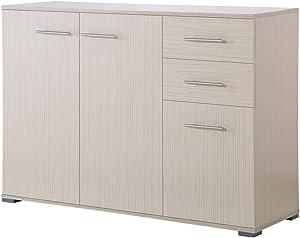 Miadomodo Commode Buffet | en Bois, avec 2 Tiroirs et 3 Compartiments, 3 Portes, 106x76x35 cm, Couleur au Choix : Blanc et Zebrano | Meuble de Rangement, Buffet Salon, Chambre, Vaisselier