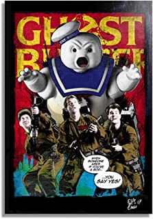 Peter, Ray and Egon from Ghostbusters (1984) - Pop-Art Original Framed Fine Art Painting, Image on Canvas, Artwork, Movie Poster, Horror
