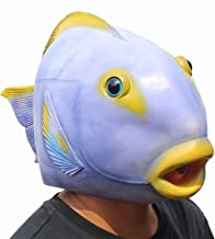 CreepyParty Deluxe Halloween Costume Party Latex Animal Head Mask Tropical Fish Purple