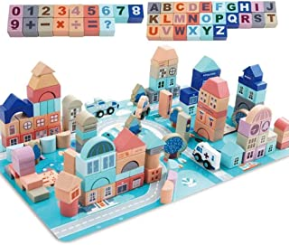 AM ANNA GEMEM Wooden Building Blocks Set-133 Pieces for Children Classic City Construction and Shapes Montessori Stacking ...