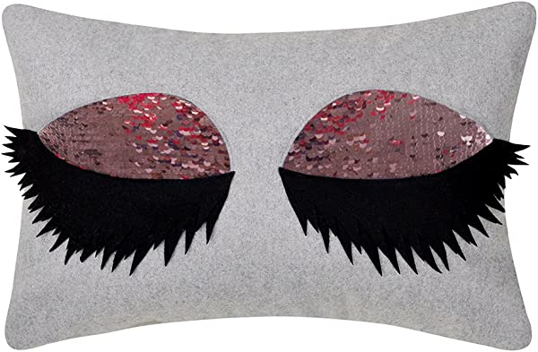 JWH Sexy Eyelash Accent Pillow Case Reversible Sequins Cushion Cover Decorative Wool Pillowcase Handmade Sham Home Sofa Bed Living Room Office Chair Decor Shell 12 X 18 Inch Purple Pink Eye Shadow
