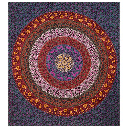 Indian-Shoppers Hippie Tapiz de algodón con diseño de mandala