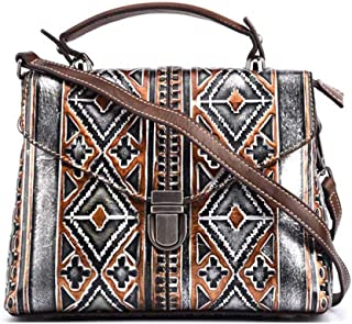 Bag for Women Ladies Fashion Individual Character Retro Embossed European Diagonal Handbags Hand-Painted First Layer Leather Shoulder Bag 25 (Long) * 18 (high) * 11.5 (Thick) cm (Color : Silver)