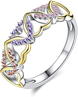 AJZYX Micro Zircon CZ Rings for Women Colorful Wrapped Heart Pattern Promise Ring Sterling Silver Plated Size 6-9
