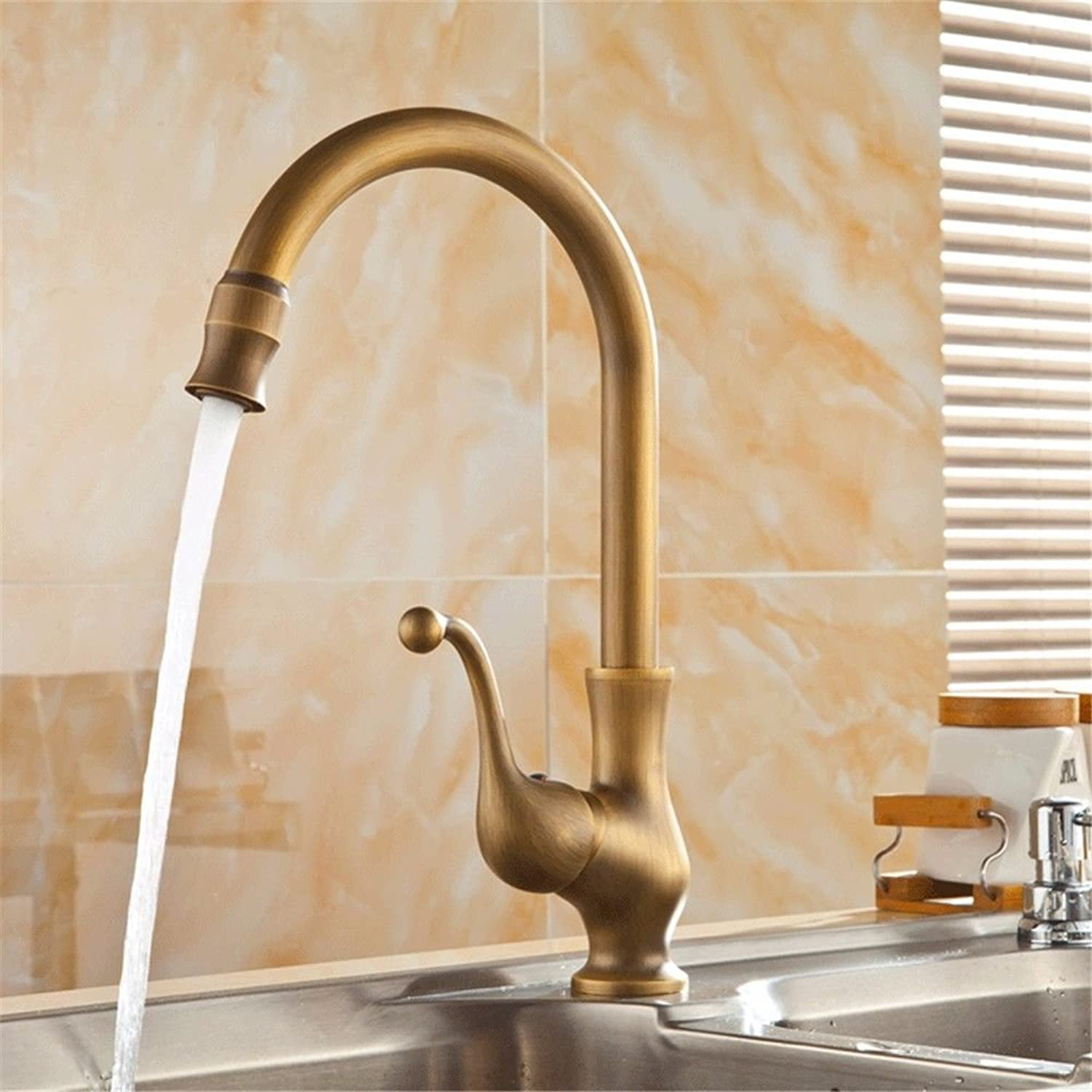 Commercial Single Lever Pull Down Kitchen Sink Faucet Brass Constructed Polished Antique Hot and Cold Water Single Hole Single Handle Large Curved Kitchen Faucet