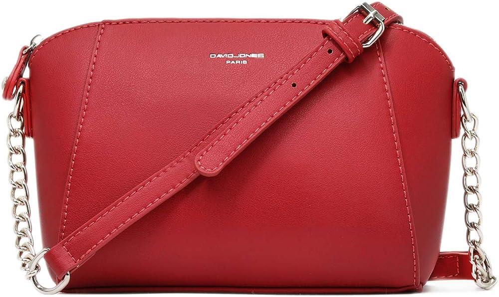 David jones - borsa a tracolla piccola per  donna, in pelle sintetica, rossa CM3549 5024 RED
