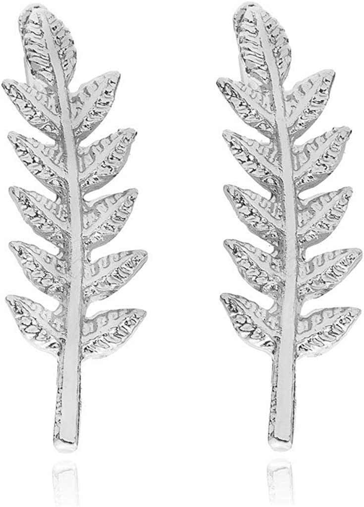 Olive Leaf Ear Crawler Cuff Earrings,Tiny Leaf Climbers Cuff Cartilage Stud Earrings for Women Girls Jewelry