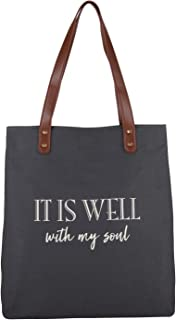 Creative Brands Joyful Expressions Charcoal Grey Canvas & Leather Tote, 13.5 x 16-Inch, It is Well