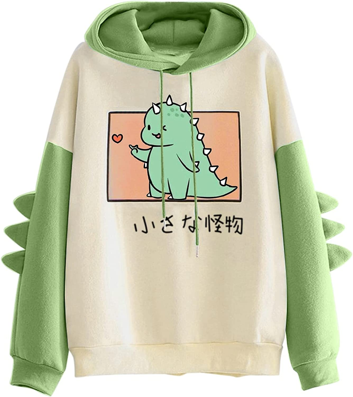FABIURT Women's Teen Girls Casual Kawaii Dinosaur Loose Hoodies Long Sleeve Sweaters Animal Cartoon Sweatshirt Pullover