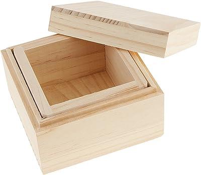 Dolity Caja de Madera Sin Pintar Suitable para Telas Adornos Sellos Pinturas de Bricolaje: Amazon.es: Hogar