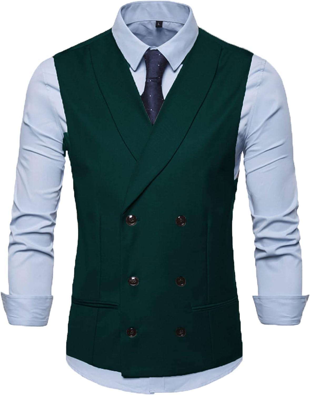 BYLUNTA Business Double-Breasted Mens Suits Vests Vintage Waistcoats Wedding Noctch Lpel Wool Retro Slim Groomsman