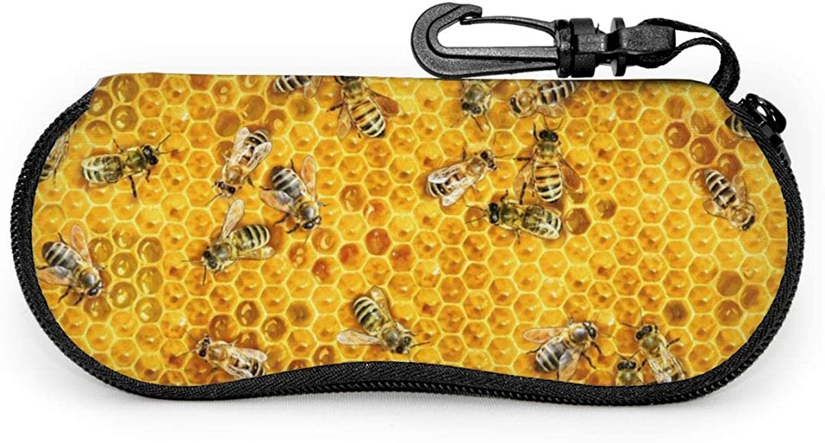 Sunglasses Case Bee Honeycomb Zipper Glasses Eyeglass Case With Carabiner For Girls