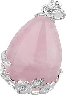 Stone Pendant Necklace for Women,Teardrop Shape Flower Chakra Reiki Healing Crystal