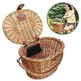 Donpow Cesta para Bicicleta con Manillar, pequeña Caja Hecha por Willow para Bicicleta Cesta de Mimbre Delantera para Bicicleta con Manillar para niños Chirlden Gift DIY Sets